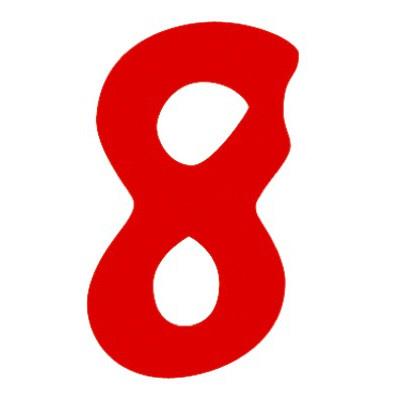 タカ印 アドポップ 数字 赤抜き 8 23-88 1箱(300片(30片×10シート)入×10冊) (取寄品)