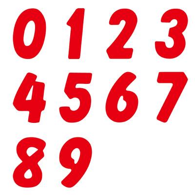 タカ印 アドポップ 数字シールセット 赤 23-99 1袋(10種各1シート入×10冊) (取寄品)