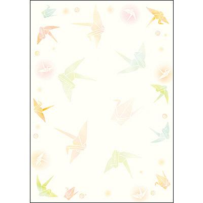 タカ印 和柄OA用紙 和ごころ 折り鶴 4-1037 1袋(10枚袋入×5冊) (取寄品)