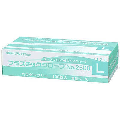 共和 ミリオン プラスチックグローブ NO.2500 L 粉なし(パウダーフリー) LH-2500-L 1箱(100枚入) (使い捨て手袋)