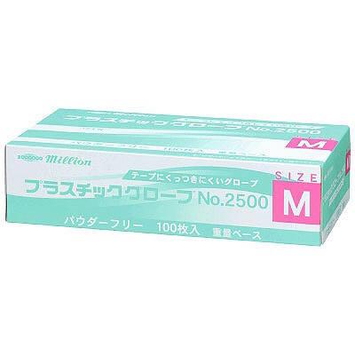 共和 ミリオン プラスチックグローブ NO.2500 M 粉なし(パウダーフリー) LH-2500-M 1箱(100枚入) (使い捨て手袋)