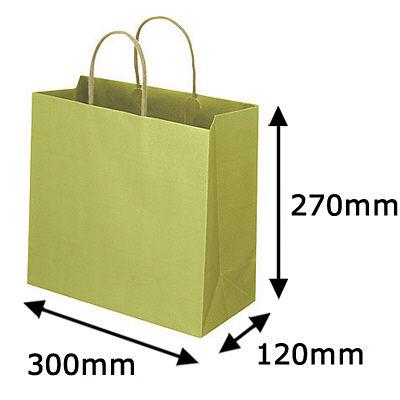 丸紐 手提げ紙袋 グリーン L 300枚