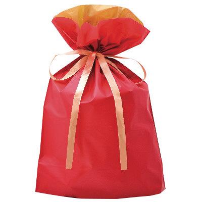 タカ印 巾着袋 レッド 大 1P 50-4559 1セット(5枚入り) (取寄品)