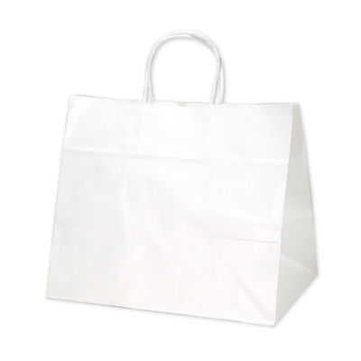 タカ印 手提げバッグ 10P白無地 幅広小 50-6000 1袋(10枚入り) (取寄品)