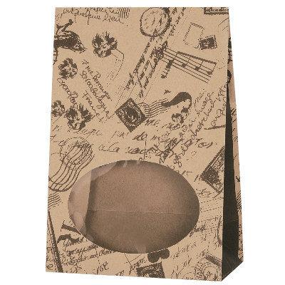 タカ印 窓付バッグ コラージュブラウン 50-3119 1袋(50枚入り) (取寄品)