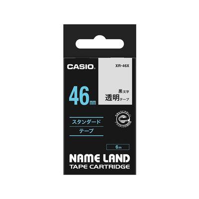 カシオ ネームランドテープ スタンダードテープ 46mm 透明テープ(黒文字) 1個 XR-46X
