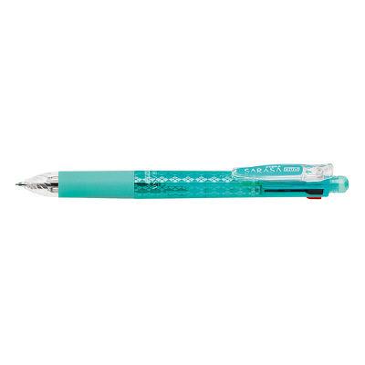ZEBRA(ゼブラ) 多機能ボールペン サラサ 4色+シャープペン 0.4mm ブルーグリーン軸 J4SAS11-BG 1セット(2本) (直送品)