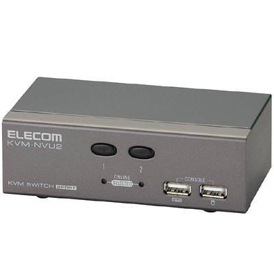 エレコム USB対応パソコン切替器 D-sub対応 2台切替 KVM-NVU2 (取寄品)
