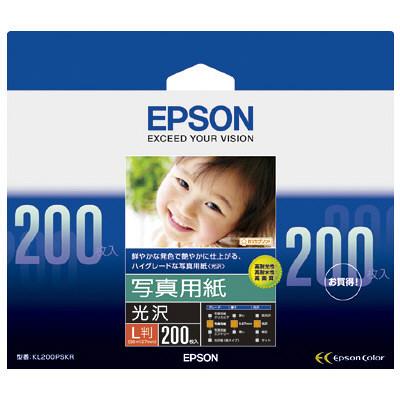 セイコーエプソン 写真用紙<光沢> L判 200枚入 KL200PSKR (取寄品)