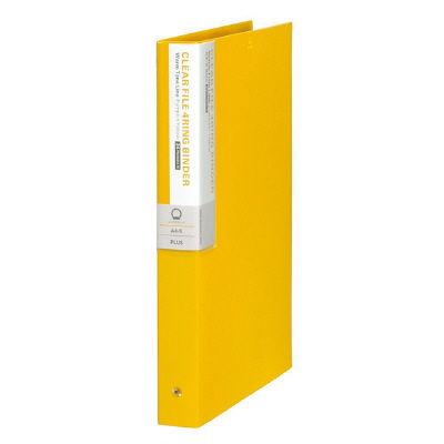 プラス 差替式クリアーファイル デジャブ 4穴タイプ 背幅35mm パンプキンイエロー 89404 FC-224DP 1箱(12冊入) (取寄品)