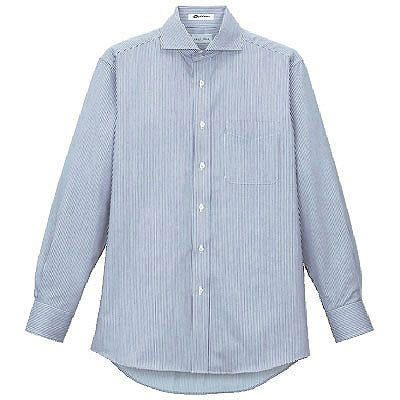 FACE MIX(フェイスミックス) 事務服 メンズ 大きいサイズ 長袖ストライプホリゾンシャツ ブルー LL FB5009MA (直送品)