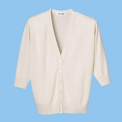 D-PHASE(ディーフェイズ) 七分袖抗ピルカーディガン 女性用 ホワイト L ASD1004 (直送品)