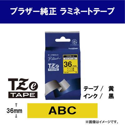ブラザー ピータッチテープ 36mm 黄テープ(黒文字) 1個 TZe-661