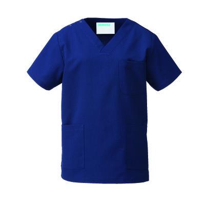 KAZEN カラースクラブ(男女兼用) 医療白衣 半袖 ネイビー S 133-98