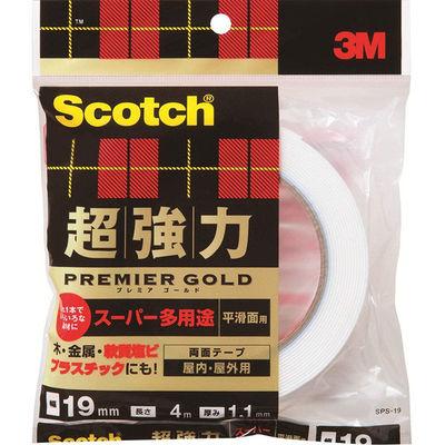 3M スコッチ(R) 超強力両面テープ プレミアゴールド スーパー多用途 平滑面用 1.1mm厚 幅19mm×4m巻 1箱(10巻入) スリーエム ジャパン