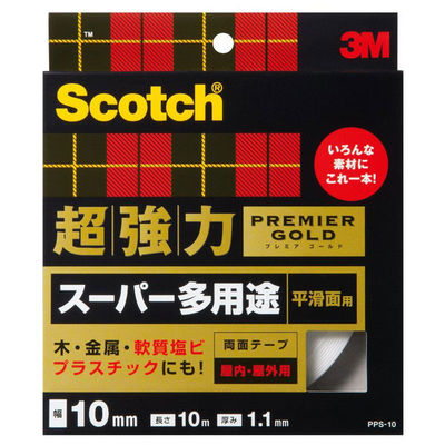 3M スコッチ(R) 超強力両面テープ プレミアゴールド スーパー多用途 平滑面用 1.1m厚 幅10mm×10m巻 1セット(5巻) スリーエム ジャパン