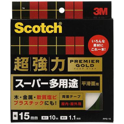 3M スコッチ(R) 超強力両面テープ プレミアゴールド スーパー多用途 平滑面用 1.1mm厚 幅15mm×10m巻 1セット(5巻) スリーエム ジャパン