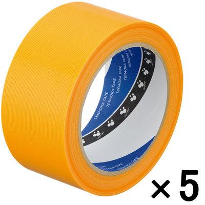 寺岡製作所 P-カットテープ 4140 強粘着 黄 幅50mm×25m巻 1セット(5巻:1巻×5)