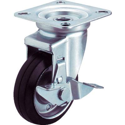 ユーエイキャスター(YUEI CASTER) 産業用キャスターシングルS付自在車 130径ゴム車輪 WJ-130S 1個 296-3655 (直送品)