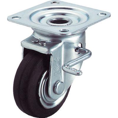 ユーエイキャスター(YUEI CASTER) 産業用キャスターダブルS付自在車 100径ゴム車輪 WJB-100R 1個 296-3566 (直送品)
