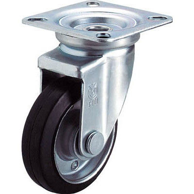 ユーエイキャスター(YUEI CASTER) 産業用キャスター自在車 75径ゴム車輪 WJ-75 1個 296-3710 (直送品)