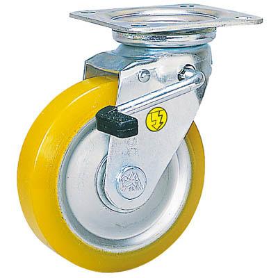 シシクSISIKUアドクライス(株 シシク 静電気帯電防止キャスター 自在ストッパー付150径 ウレタン車輪 EUWJB150 1個 353ー5096(直送品)