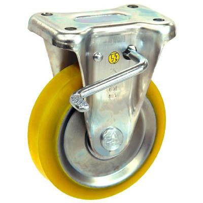 シシクSISIKUアドクライス(株 シシク 静電気帯電防止キャスター 固定ストッパー付100径 ウレタン車輪 EUWKB100 1個 353ー5151(直送品)