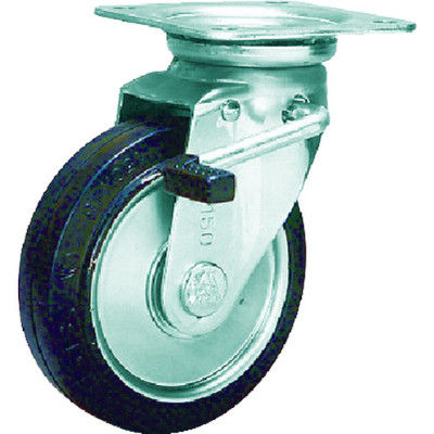 シシクSISIKUアドクライス スタンダードプレスキャスター ゴム車輪 自在ストッパー付 100径 WJB-100 1個 505-7175 (直送品)