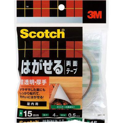 3M スコッチ(R) はがせる両面テープ 超透明厚手 0.5m厚 幅15mm×4m巻 SRT-15 1セット(5巻:1巻×5) スリーエム ジャパン