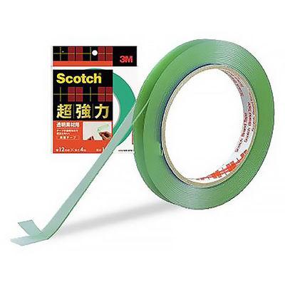 3M スコッチ(R) 超強力両面テープ 透明素材用 1.0mm厚 幅12mm×4m巻 STD-12 1セット(5巻:1巻×5) スリーエム ジャパン