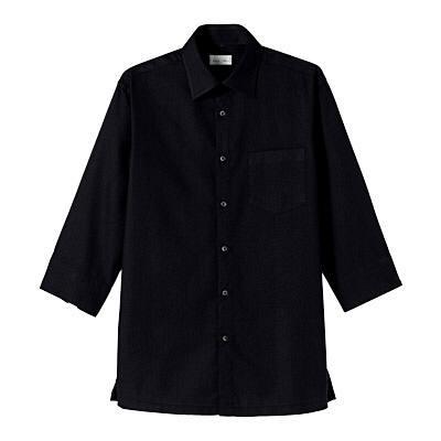 FACE MIX(フェイスミックス) 事務服 ユニセックス 小さいサイズ 長袖ストレッチシャツ ブラック SS (直送品)