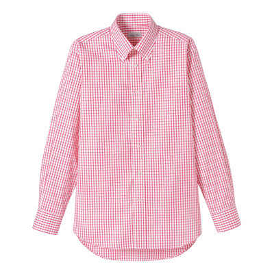 FACE MIX(フェイスミックス) 事務服 ユニセックス 大きいサイズ 長袖チェックシャツ レッド LL (直送品)