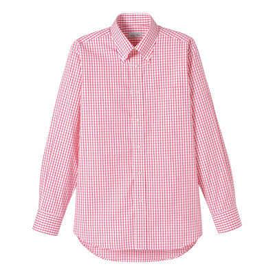 FACE MIX(フェイスミックス) 事務服 ユニセックス 大きいサイズ 長袖チェックシャツ レッド 4L (直送品)