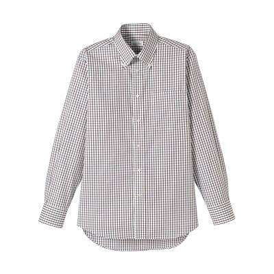 FACE MIX(フェイスミックス) 事務服 ユニセックス 大きいサイズ 長袖チェックシャツ ブラウン 3L (直送品)