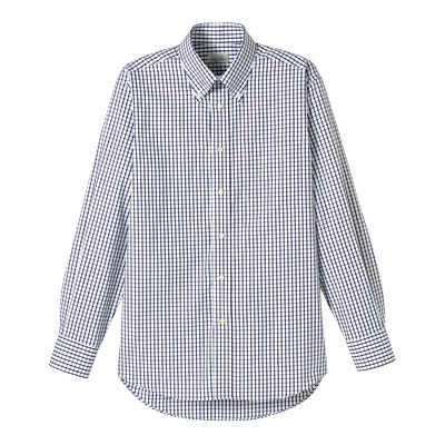 FACE MIX(フェイスミックス) 事務服 ユニセックス 大きいサイズ 長袖チェックシャツ ネイビー 3L (直送品)