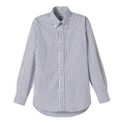 FACE MIX(フェイスミックス) 事務服 ユニセックス 大きいサイズ 長袖チェックシャツ ネイビー 4L (直送品)