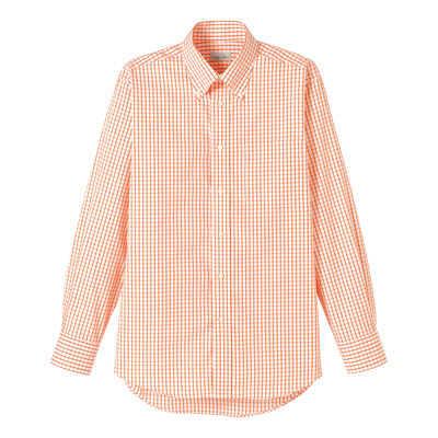 FACE MIX(フェイスミックス) 事務服 ユニセックス 長袖チェックシャツ オレンジ S (直送品)