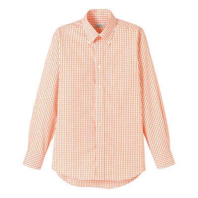 FACE MIX(フェイスミックス) 事務服 ユニセックス 大きいサイズ 長袖チェックシャツ オレンジ 3L (直送品)