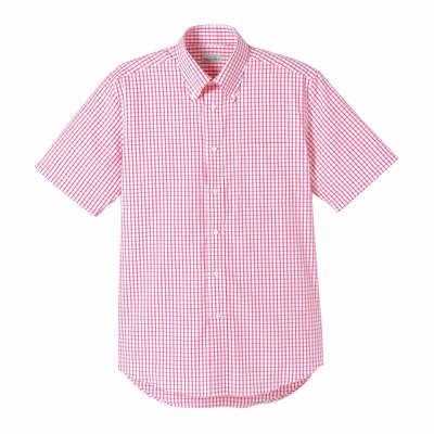 FACE MIX(フェイスミックス) 事務服 ユニセックス 大きいサイズ 半袖チェックシャツ レッド LL (直送品)