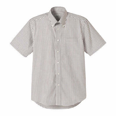 FACE MIX(フェイスミックス) 事務服 ユニセックス 半袖チェックシャツ ブラウン S (直送品)