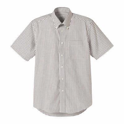 FACE MIX(フェイスミックス) 事務服 ユニセックス 大きいサイズ 半袖チェックシャツ ブラウン LL (直送品)