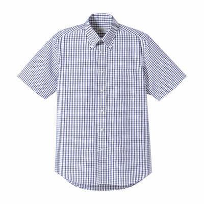 FACE MIX(フェイスミックス) 事務服 ユニセックス 半袖チェックシャツ ネイビー M (直送品)