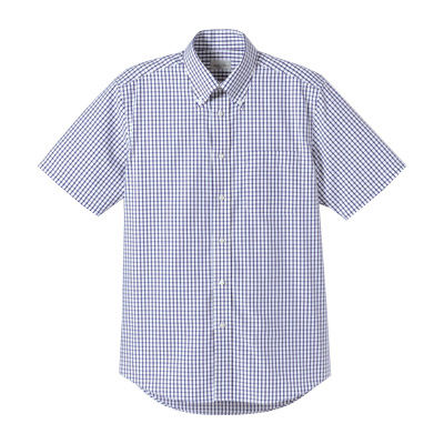 FACE MIX(フェイスミックス) 事務服 ユニセックス 大きいサイズ 半袖チェックシャツ ネイビー LL (直送品)