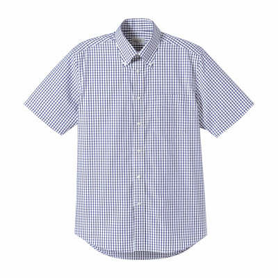 FACE MIX(フェイスミックス) 事務服 ユニセックス 大きいサイズ 半袖チェックシャツ ネイビー 4L (直送品)