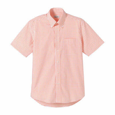 FACE MIX(フェイスミックス) 事務服 ユニセックス 半袖チェックシャツ オレンジ S (直送品)