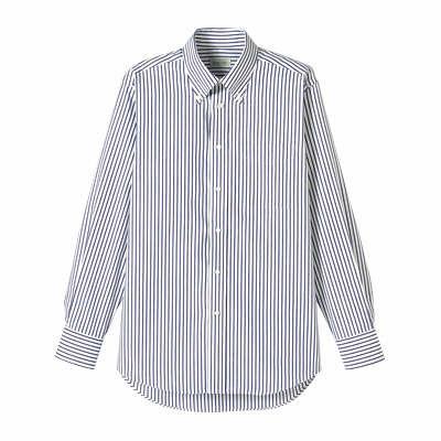 FACE MIX(フェイスミックス) 事務服 ユニセックス 小さいサイズ 長袖シャツ ストライプ ネイビー SS (直送品)