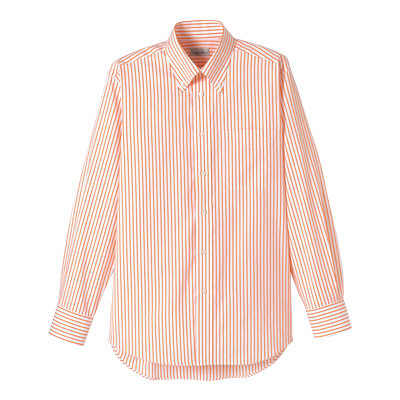 FACE MIX(フェイスミックス) 事務服 ユニセックス 小さいサイズ 長袖シャツ ストライプ オレンジ SS (直送品)