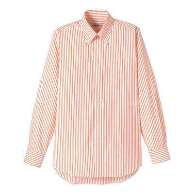 FACE MIX(フェイスミックス) 事務服 ユニセックス 大きいサイズ 長袖シャツ ストライプ オレンジ 4L (直送品)