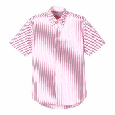 FACE MIX(フェイスミックス) 事務服 ユニセックス 大きいサイズ 半袖ストライプシャツ レッド LL (直送品)