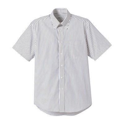 FACE MIX(フェイスミックス) 事務服 ユニセックス 大きいサイズ 半袖ストライプシャツ ブラウン LL (直送品)